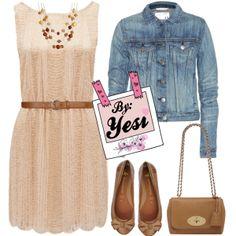 Outfit sencillo, vestido de encaje, flats y chamarra de mezclilla. 296