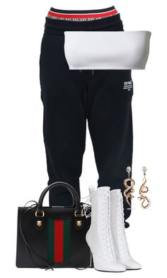 """""""Gucci"""" by larious ❤ liked on Polyvore featuring Tommy Hilfiger, Off-White, Gucci, Balmain and Diego Percossi Papi"""