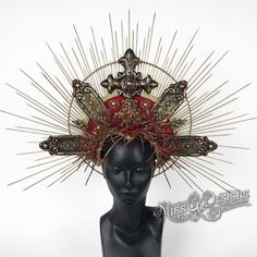 Etsy.com/shop/MissGDesignsShop  #headdress #headpiece #crown #halo #horns #halloween #halloweencostume #crownofthorns #virginmary #madonna #demon #millinery #religious headdress #missgdesigns