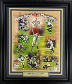 Super Bowl Champions Autographed Framed 16x20 Photo New Orleans Saints With 9 Signatures Including Drew Brees PSA/DNA