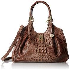 Brahmin Elisa Top Handle Bag ($293) ❤ liked on Polyvore featuring bags, handbags, shoulder bags, brown purse, brahmin handbags, hobo purse, brahmin and brown hobo purse