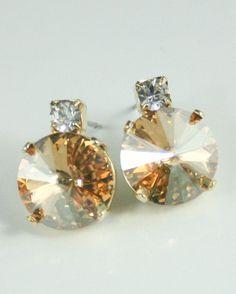 Bridesmaid earrings champagne crystal earrings
