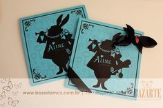 convite Festa Alice no país das maravilhas in Wonderland scrapfesta personalizados infantis coelho