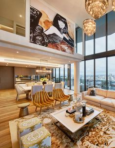 This glamorous Melbourne Penthouse was beautifully styled & decorated by famous fashion illustrator Megan Hess . From the two-story living . Interior Design Living Room, Living Room Designs, Interior Decorating, Luxury Interior, Interior And Exterior, Megan Hess, Penthouse Apartment, Living Room Windows, Living Rooms