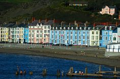Seafront, Aberystwyth, Wales - notice its black beach Great Places, Places To See, Beautiful Places, Welsh English, Aberystwyth, Seaside Towns, Swansea, Places Of Interest, Great Britain