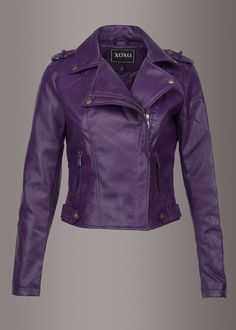 Glam and Gloria Womens Purple Faux Leather Moto Biker Jacket Purple Leather Jacket, Leather Jacket Outfits, Purple Jacket, Faux Leather Jackets, Moto Leather Jacket, Leather Jackets For Women, Glam Rock, Purple Outfits, Emo Outfits