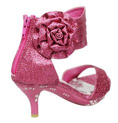 faf6dd63bb Girls' Ankle Wrap High Heel Glitter Dress Sandals w/ Flower Fuchsia Kids  Shoes