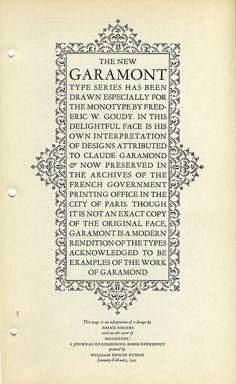 Monotype Garamont Type Specimen by Dunwich Type, via Flickr