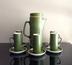 LaGardo Tackett Green Pot Cups and Saucers set of 5 by Modernismus