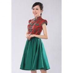 $35.14 Elegant Stand Collar Flower Pattern Short Sleeves Bridesmaid Dress For Women