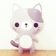 Kawaii Kitty - Sweet little handmade kitty!!  Completely hand-stitched from soft natural and grey wool blend felts with sweet embroidered details.