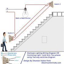 3 way switch with power feed via the light multiple lights how two way light switch diagram or staircase lighting wiring diagram asfbconference2016 Image collections