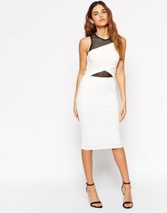 ASOS Mesh Crepe Cut Out Midi Dress