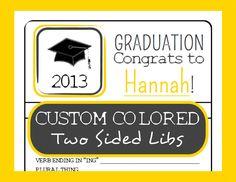 Graduation MAD LIBS Game - High School - Printable - 2013 Party Idea - Customizable PDF / Design. $19.95, via Etsy.