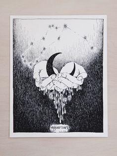 Amazing hand drawn Aquarius zodiac from the wild unknown