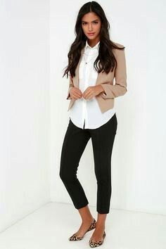 Capri work pants with statement flats, untucked button down and casual blazer