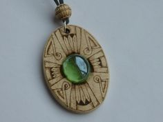 """Wooden pendant """"Art Deco Cross"""" decorated with pyrography and glass"""