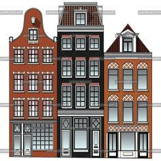 Three Dutch Renaissance canal houses from Amsterdam city Canal House Amsterdam, Amsterdam Houses, Amsterdam City, Amsterdam Architecture, Townhouse Exterior, Dutch House, Renaissance Architecture, Cottage Art, House Drawing