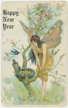 """Wishing you a """"fairy"""" happy New Year! lovely vintage new year card. Vintage Greeting Cards, Vintage Christmas Cards, Vintage Holiday, Vintage Postcards, Vintage Images, Vintage Happy New Year, Happy New Year Cards, New Year Greetings, New Year Postcard"""