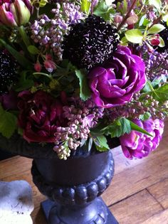 Pink + Wine + Green Purple Flowers, Spring Time, Jun, Floral Arrangements, Our Wedding, Bouquet, Green, Plants, Decorations