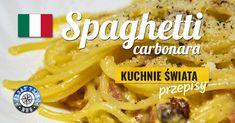 Spaghetti carbonara to jeden z najpopularniejszych włoskich makaronów. Zapraszamy do przetestowania oryginalnego przepisu tej niesamowitej potrawy. Spaghetti, Meat, Chicken, Ethnic Recipes, Food, Beef, Meal, Essen, Hoods