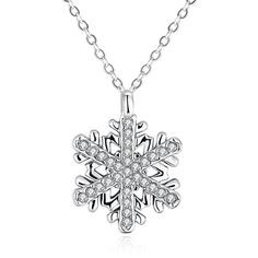 Rhinestoned Christmas Snowflake Necklace ($3.32) ❤ liked on Polyvore featuring jewelry, necklaces, rhinestone necklace, snowflake jewelry, christmas jewelry, rhinestone jewelry and snowflake necklaces