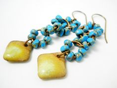 Ceramic Diamond Drop Earrings Turquoise by ChelseaGirlDesigns, $24.00