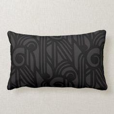 Shop GaG Art Deco Lumbar Pillow - Black on Black created by GagMerch. Patio Pillows, Down Pillows, Bed Pillows, Black And White Cartoon, Black Taps, Art Deco Print, Art Deco Home, Top Gifts, Artwork Design