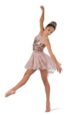 En stock élégante peach artstone contemporaine lyrique ballet robe danse costume