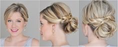 braided messy bun by clip on short blonde natural extension