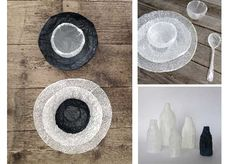 Delicate vessels made by Supercyclers from discarded plastic shopping bags