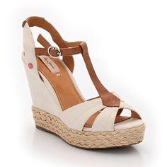 Sandales à brides, toile et cuir, plateforme et talon compensé PEPE JEANS