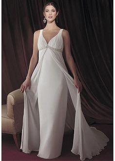 LACE BRIDESMAID PARTY BALL IVORY WHITE FORMAL PROM ELEGANT CHIFFON EMPIRE V-NECK WEDDING DRESS