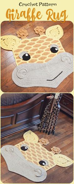 Safari theme kids room, giraffe crochet rug pattern PDF download #safaritheme #giraffe #rug #rugs #ad #nursryroom #playroom #homedecor #kidsroomdecor #giftideas