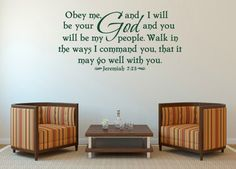 Christian Wall Decal. Obey me and I will be Scripture Vinyl Wall Art – Bible Wall Quotes – Christian Quotes – Christian Wall Art – Religious Quotes – Christian Wall Quotes – Religious Wall Quotes – Religious Decals - Vinyl Wall Quotes – Decal Quotes – Quote Wall Decal – Decal Wall Decor – Vinyl Wall Art Quotes – Vinyl Lettering Quotes – Vinyl Decals – Bedroom Wall Decals by WeAreVinylDesigns, $28.00