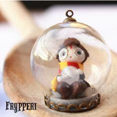 Sfera di vetro con Harry Potter #fimo #polymerclay #handmade #mago #harrypotter www.frypperi.it www.facebook.com/frypperi