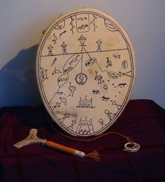 A Sami shaman drum, a proof of the rich and beautifull traditional craftsmanship of the sami. The sami people are the native people of scandinavia. Made from bones and skin from the reindeer.