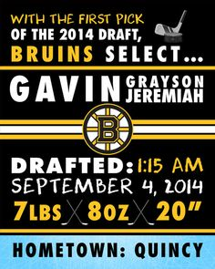 NHL Boston Bruins Hockey Wall Art Birth by FaithFamilyFunDesign