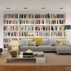 Living room by piwko-bespoke fitted furniture - . - Living room by piwko-bespoke fitted furniture – be - Home Library Rooms, Home Library Design, Home Libraries, Library Ideas, Modern Library, Bookshelves In Living Room, Bookshelves Built In, Library Shelves, Bookcases