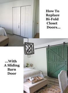 Replace outdated closet doors with a DIY sliding barn door! Making Barn Doors, Building A Barn Door, Barn Door Closet, Sliding Closet Doors, Diy Sliding Barn Door, Diy Door, Barn Door Bookcase, Diy Barn Door Plans, Mobile Home Renovations