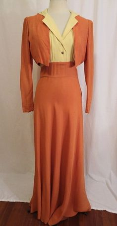 Vintage Early 40s Two Tone Citrus Color Rayon Sweeping Dress Crop Jacket Set M   eBay