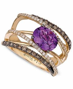 Le Vian Amethyst (1-1/2 ct. t.w.) and White and Chocolate Diamond (3/4 ct. t.w.) Gladiator Ring in 14k Gold