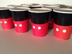 mickey mouse baby shower favors  | just do black cups and red construction papers with glued on white ...