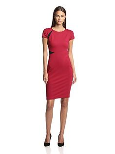 Magaschoni Women's Ponte Dress with Lace (Venitian Red)