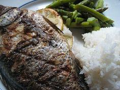 Grilled Whole Talapia Fish and Asparagus