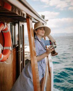 "Aida Đapo Muharemović on Instagram: ""Exploring the most beautiful old towns and islands of the Croatian seaside the oldschool way 🌊 #iddavanmunster #sailaway #croatia…"" Idda Van Munster, Grand Tour, Vintage Travel, Pin Up Girls, Old Town, Croatia, Panama Hat, Old School, Seaside"