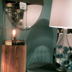 "clear glass with hand applied ""dollops"" of navy glass  - Edge Lamp - Arteriors Home"