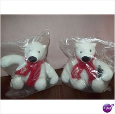 Coca Cola Bears Wearing Scarfs In Plastic Sealed Set Of 2