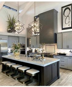 Definitive Proof That Gray Living Rooms Make a Striking Statement – Home Design Home Design, Interior Design Career, Decor Interior Design, Interior Decorating, Home Decor Kitchen, Home Kitchens, Kitchen Modern, Cuisines Design, Beautiful Kitchens