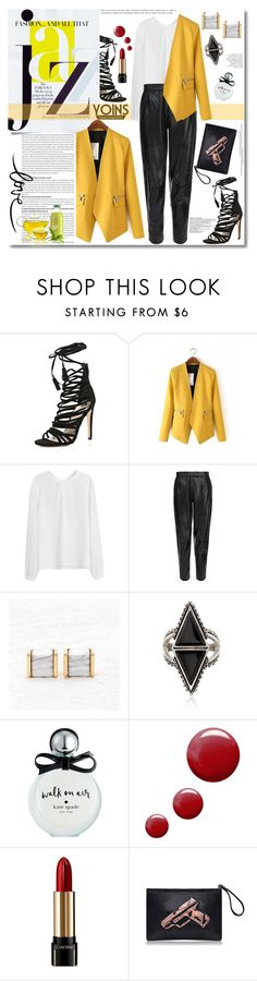 """All That Jazz Yellow Blazer"" by gorgeautiful ❤ liked on Polyvore featuring Olsen, Chanel, MuuBaa, Ross-Simons, Kate Spade, Topshop, Lancôme, women's clothing, women and female"